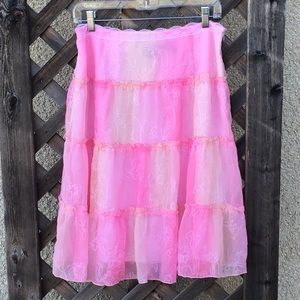 Tribal pretty pink skirt with little ruffles
